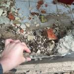 Bodenschwelle mit starker Schädigung am Gästebad im EG